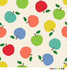 Colorful apples seamless vector pattern background