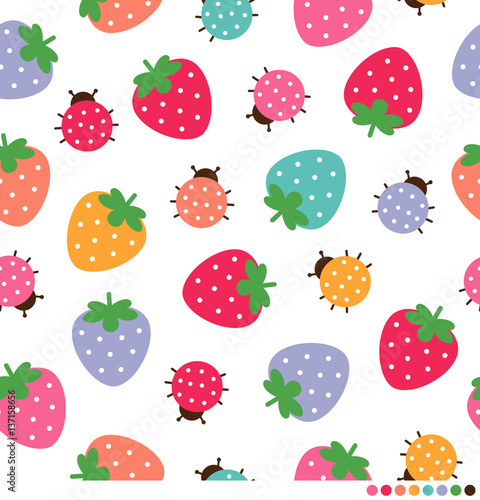 Fototapeta Colorful strawberry and ladybug seamless pattern vector background