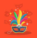Mask with Multicolor Feather on Red