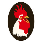 rooster head vector illustration style Flat