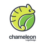 Chameleon Logo, Abstract Logo of Chameleon, Circle Logo Outline of Chameleon