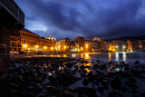 Beautiful Mediterranean resort Sestri Levante by night. Liguria, Italy