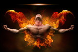 On fire bodybuilder - 137170627