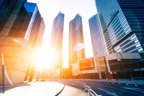 modern buildings with sunbeam