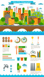 Environment, ecology infographic elements, ecosystem. Can be used for background, layout, banner, diagram, web design, brochure template. Vector illustration