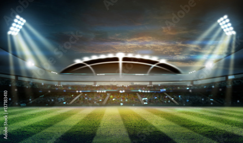 Staande foto Voetbal stadium in lights and flashes 3d.