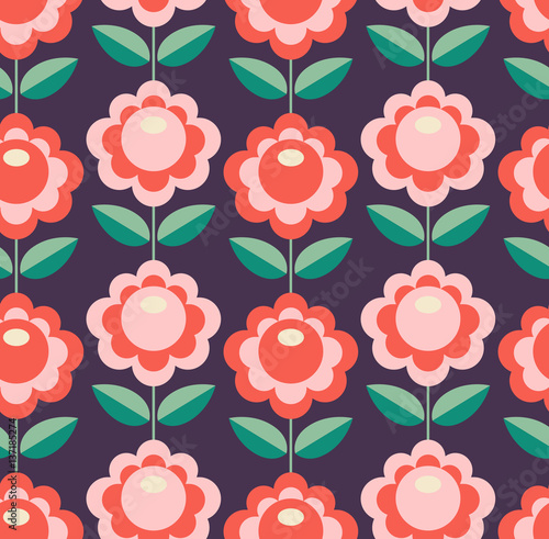 Cotton fabric seamless retro pattern with flowers