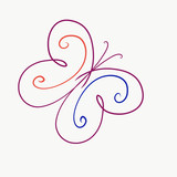 elegant bright butterfly, painted lines with swirls