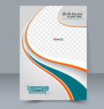 Abstract flyer design background. Brochure template. For magazine cover business mockup education presentation report. Vector illustration. Orange and green color.