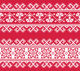 Ukrainian or Belarusian folk art embroidery pattern in red an white  - 137203849