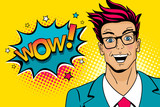 Fototapety Wow pop art male face. Young sexy surprised man in glasses with open mouth and Wow speech bubble with stars. Vector colorful illustration in retro comic style. Party invitation poster.