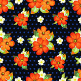 Seamless decorative pattern with poppies and polka dots 1