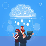 Business Man And Woman Wear Digital Glasses Use Laptop Computer Cloud Database Concept Flat Vector Illustration