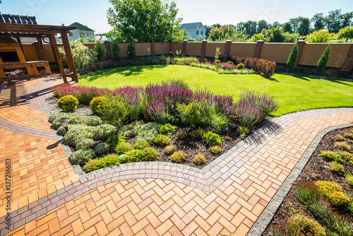 beautiful landscaping with beautiful plants - 137216603