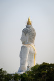Renovate old The White buddha status, wat pairongwau suphanburi thailand
