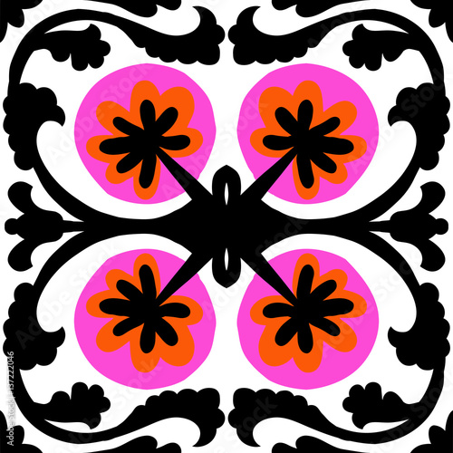Ethnic pattern with Uzbek and Kazakh motifs - 137222046