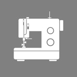 White sewing machine vector icon on grey background