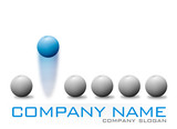 Blue Bouncing Ball Company Logo