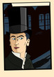 The man in the top hat in the style of old comic books. Flat vector.