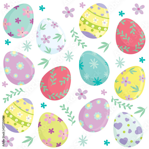 Materiał do szycia Different colorful Easter eggs and holiday elements seamless pattern. Vector illustration.