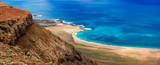 wild beautiful beaches of volcanic island Lanzarote, Canary islands