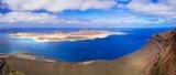 Lanzarorte island - Impressive panorama from Mirador del Rio for island Graziosa. Canary islands