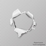 Torn paper realistic, hole in the sheet of paper on a transparent background. Vector illustration - 137254401