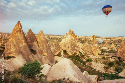 Tuinposter Canyon Turkey Cappadocia beautiful balloons flight stone landscape