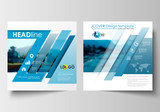 Business templates for square design brochure, magazine, flyer, report. Leaflet cover, abstract flat style travel decoration layout, easy editable vector template, colorful blurred natural landscape.