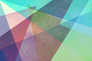 colorful abstract geometric background design with transparent triangle layers and pieces in random fun pattern with canvas style texture overlay