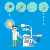 Smiling male dentist in white coat standing near modern dental chair on blue background with instruments icons. Dental office vector illustration. Oral hygiene. Stomatology clinic concept in flat