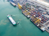 arial view container ship in import export and business logistic, - 137285267