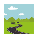 landscape with mountains and road way vector illustration