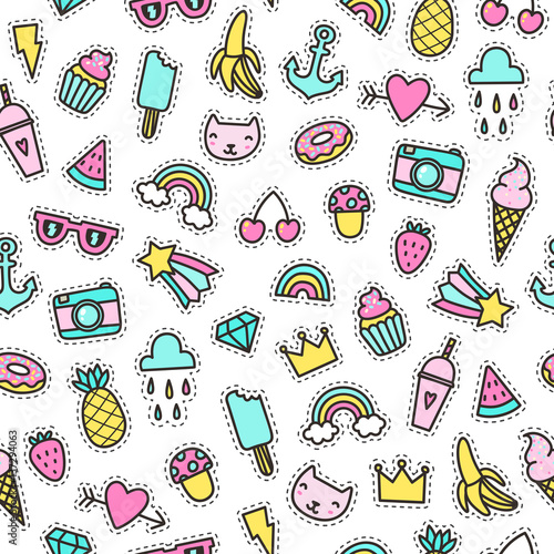 Foto op Aluminium Retro sign Cute objects seamless pattern. Pins, stickers. Vector hand drawn illustration