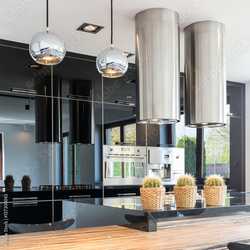 Stylish black open kitchen Poster