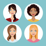 set women friends community vector illustration eps 10