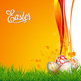 Vector Easter holiday Illustration with painted eggs on floral background.