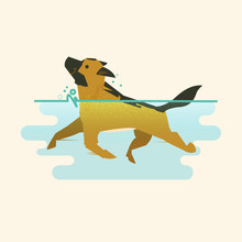 Dog Swimming In Ther Water   Sticker