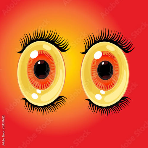 Big oval cartoon eyes. Wide open anime style eyes with long eyelashes. Vector Illustration - 137319632