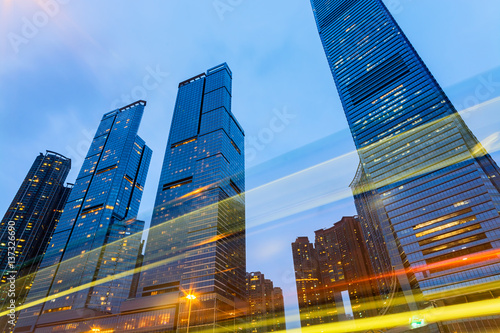Moder Office buildings in Hong Kong at night.