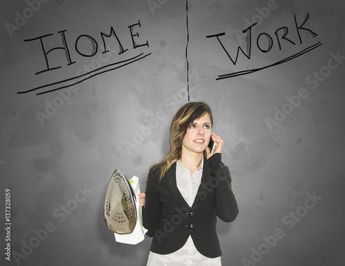 Ragazza Business Casa Lavoro Poster