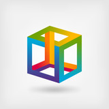 impossible cube multicolor abstract symbol - 137330425