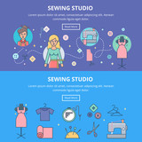 Sewing studio, tailoring services vector web banners