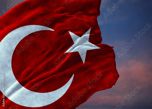 Deurstickers Rood paars Turkish Flag, Turkey