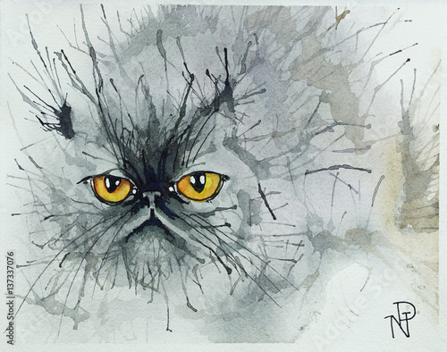 Aluminium Uilen cartoon Watercolour cats.