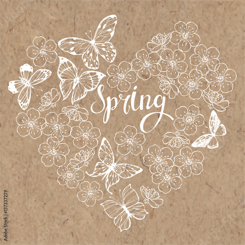 Spring Background With Butterflies And Flowers Of Cherry