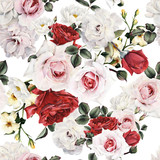 Seamless floral pattern with roses, watercolor. - 137338201