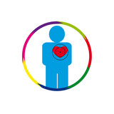 Vector illustration. The emblem, logo. The human heart at risk. healthy lifestyle. human contour. Seven sections of a circle. Different colors.