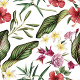 Seamless tropical flower pattern. - 137343299