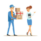 Woman Showing The Way For Delivery Service Worker, Smiling Courier Delivering Packages Illustration